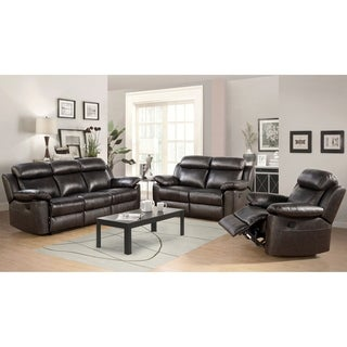 Abbyson Thompson 3 Piece Leather Reclining Living Room Sofa Set