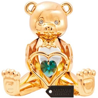 24K Gold Plated Birthstone Bear Ornament Made with Genuine Matashi Crystals