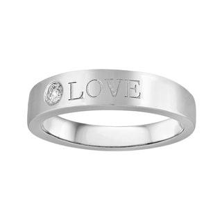 "Sterling Silver 1/10ct TDW Diamond 'Love"" Engraved Ring"