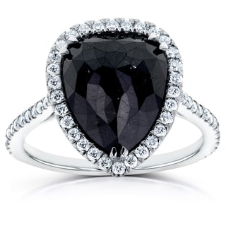 Annello by Kobelli 14k White Gold 5 5/8ct TDW Pear Shape Black Diamond Halo Ring