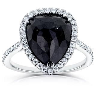 Annello by Kobelli 14k White Gold 5 5/8ct TDW Pear Shape Black Diamond Halo Ring (Option: 8.5)|https://ak1.ostkcdn.com/images/products/10772813/P17823329.jpg?impolicy=medium