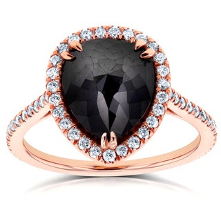 Annello by Kobelli 14k Rose Gold 4 3/4ct TDW Pear Shape Black Diamond Halo Ring