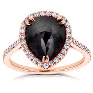 Annello by Kobelli 14k Rose Gold 4 3/4ct TDW Pear Shape Black Diamond Halo Ring