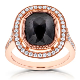 Annello by Kobelli 14k Rose Gold 4 3/5ct TDW Cushion Black Diamond and Floating Halo Double Milgrain