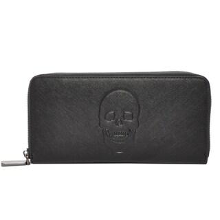 Mechaly Women's Skully Black Vegan Leather Skull Wallet