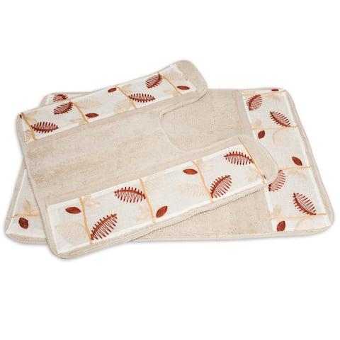 Banded Ivory Linen Leaf Bath and Contour Rug Set or Separates