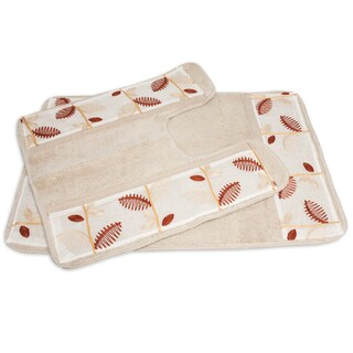 Banded Ivory Linen Leaf Bath and Contour Rug Set or Separates