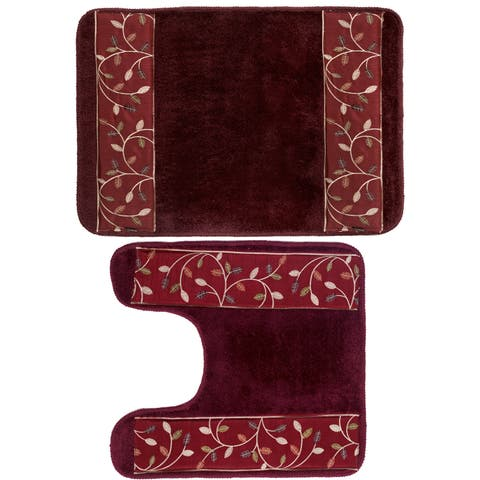 Burgundy Banded Leaf Bath and Contour Rug Set or Separates