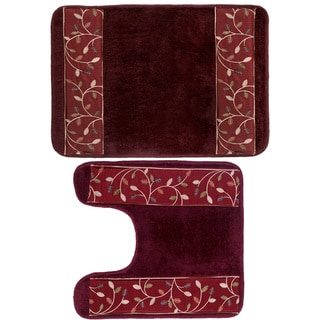 Burgundy Banded Leaf Bath and Contour Rug Set or Separates
