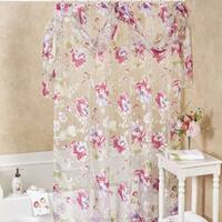Sheer Floral Shower Curtain With Detachable Scarf Valance and Hooks Set or Separates - 70 x 72