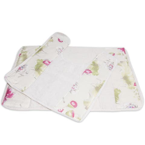 Floral Banded Bath and Contour Rug Set or Separates