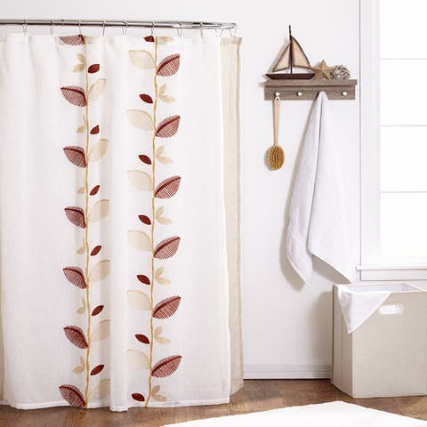 Embroidered Ivory Linen Leaf Shower Curtain and Hooks Set or Separates