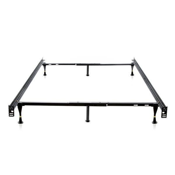 Structures Heavy Duty Adjustable Metal Full/ Twin Bed Frame with Glides