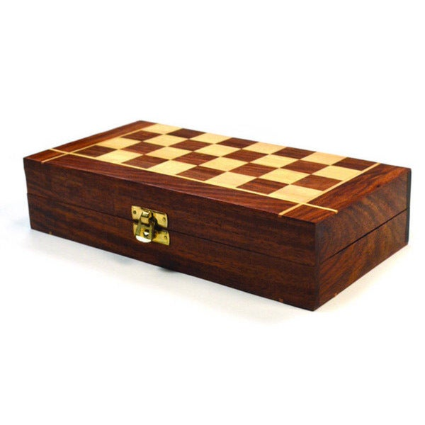 Hand-Carved Folding Chess/Backgammon Game (India)