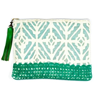Sage Appliqué Pouch (India)