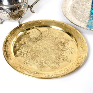 Handcrafted Authentic 12-inch Brass Platter (Tunisia)