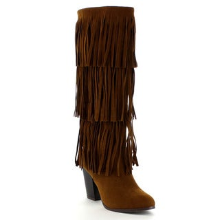 Beston DA24 Women's Stacked Heel 3-layers Fringe Knee High Boots