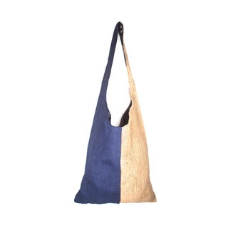 Blue Colorblock Jute Shoulder Tote