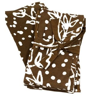 Set of Four Dark Brown Jasmine Vine Napkins (India)
