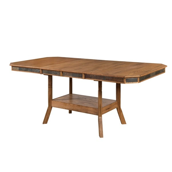 Sunny Designs Sedona Extension Table With Double Butterfly Leaf   Oak