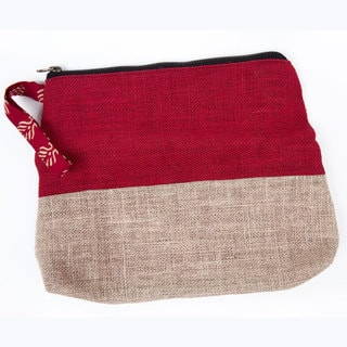 Colorblock Jute Wristlet Red (India)