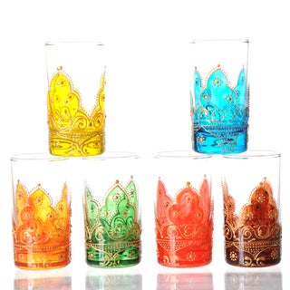 Set of 6 Hand-painted Arabesque Style Tea Glasses (Tunisia)