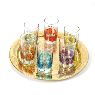 Set of 6 Moorish Style Hand-painted Tea Glasses (Tunisia)