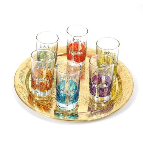 Set of 6 Moorish Style Handmade Tea Glasses (Tunisia)