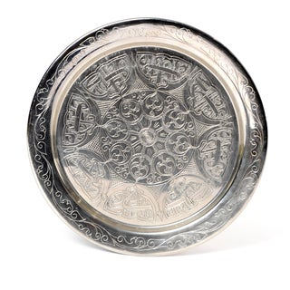 Handcrafted Authentic 12-inch Silver-plated Brass Platter (Tunisia)