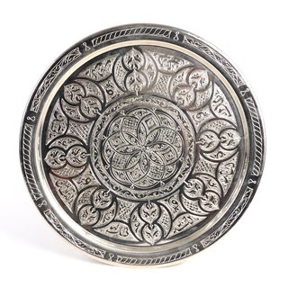 Handcrafted Authentic 19-inch Silver-plated Brass Tray (Tunisia)