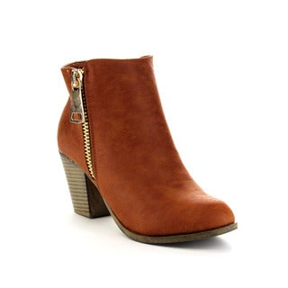 Beston Women's Chunky Heel Side Zipper Booties