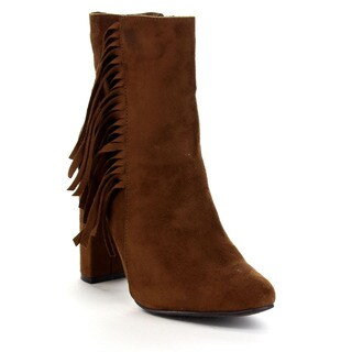 Breckelle's Women's 'Lisa-12' Elegant Fringe Chunky Heel High-Top Booties
