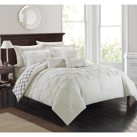 Silver Orchid Maude 10-piece Edney Pinch Pleated Ruffled Reversible Beige Bed-in-a-Bag