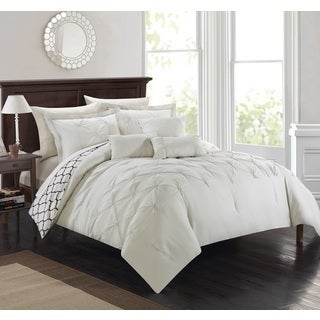 Chic Home 10-piece Edney Pinch Pleated Ruffled Reversible Beige Bed-in-a-Bag