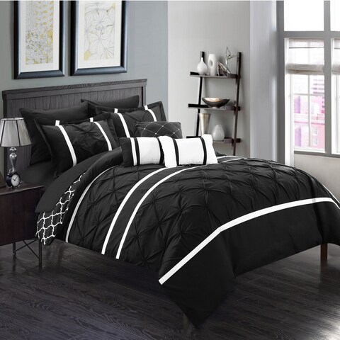 Gracewood Hollow Ishiguro Black Pinch Pleated Reversible 10-piece Bed in a Bag with Sheet Set
