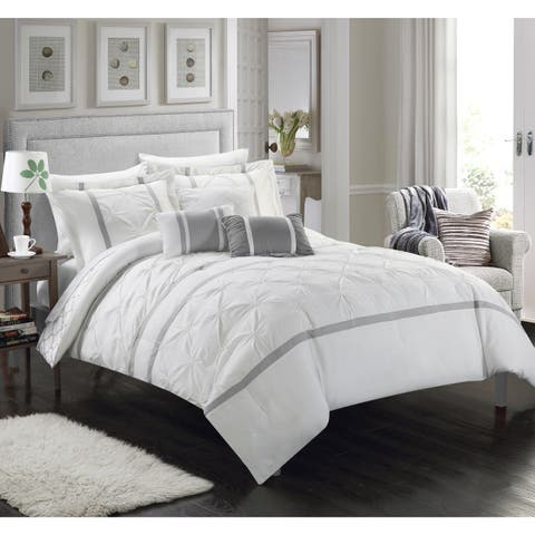 Silver Orchid Ayres Pinch-Pleated Ruffled Reversible White 10-piece Bed-in-a-Bag with a Sheet Set