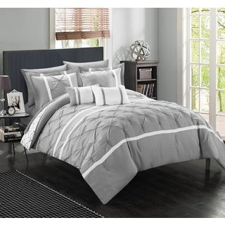 Chic Home Edney Pinch Pleated Ruffled Reversible Grey 10-Piece Bed in a Bag with Sheet Set