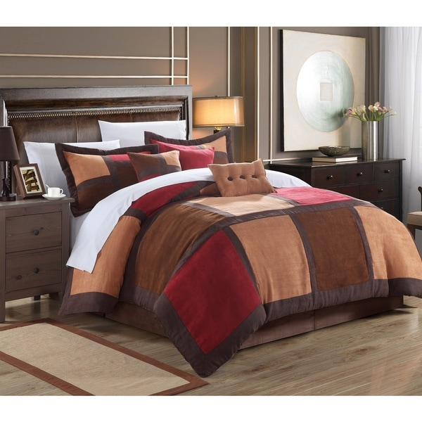 Chic Home Diana 11-Piece Burgundy Microsuede Patchwork Comforter Set