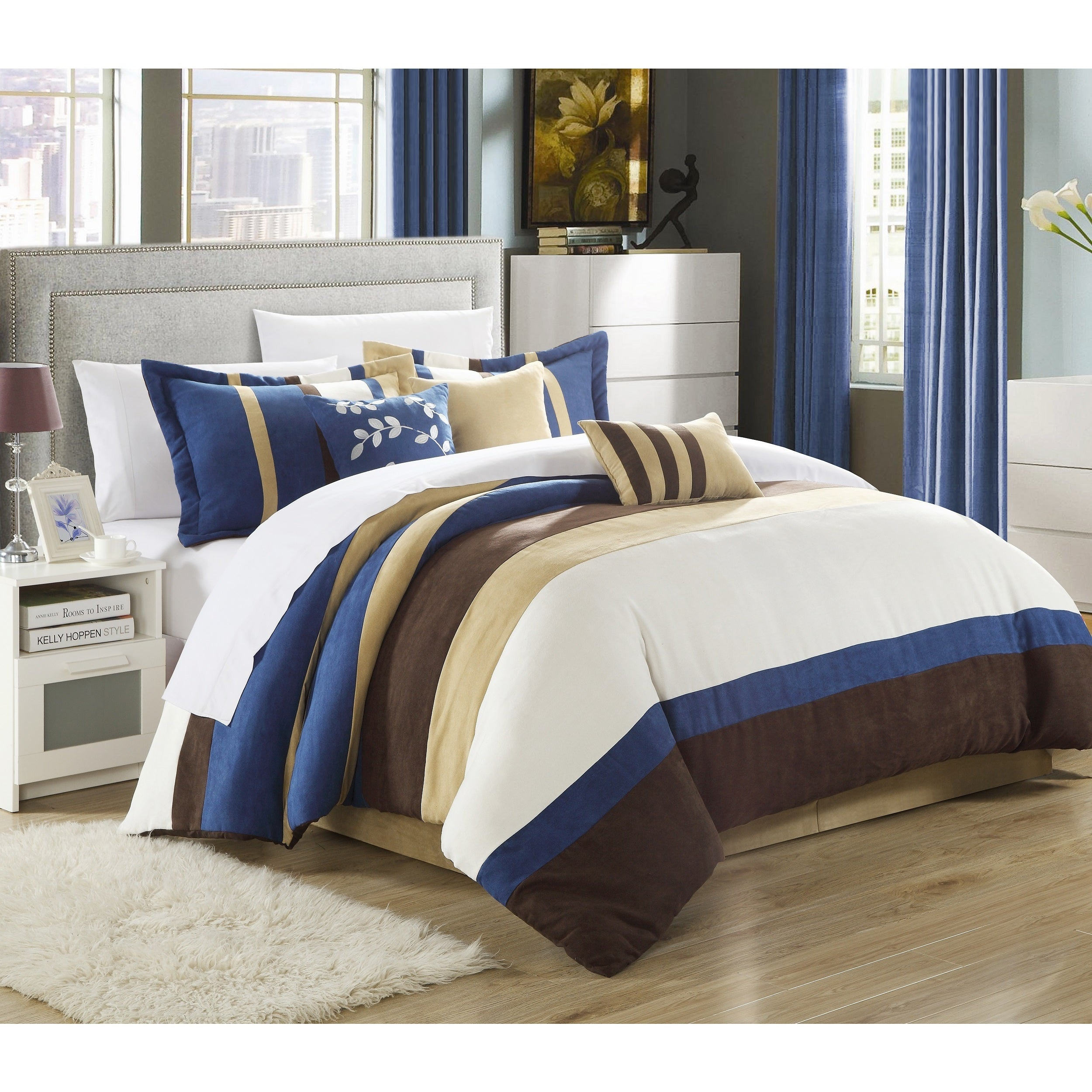 Chic Home Catrine 11-Piece Blue Microsuede Pieced Comfort...