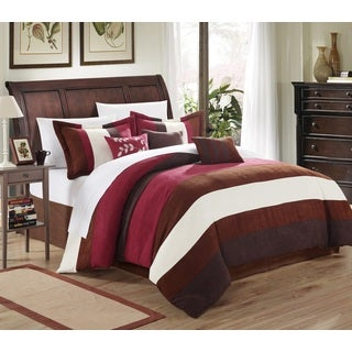 Chic Home Catrine 11-Piece Burgundy Microsuede Pieced Comforter Set