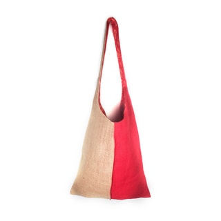 Red Colorblock Jute Shoulder Tote (India)