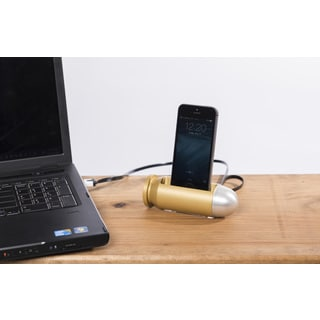 Sportsman's Desk Bullet Smartphone Dock Station (Brass and Platinum Finish)