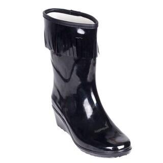 Women's Black Rubber Fringe Short Rain Boots