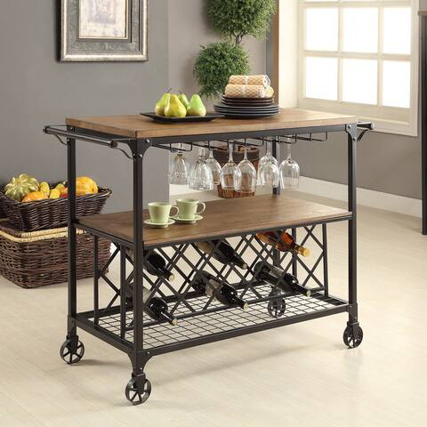 Furniture of America Ursa Industrial Oak Metal Wine Rack Serving Cart