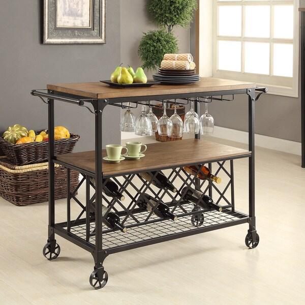 Furniture of America Ursa Industrial Oak Metal Wine Rack Serving Cart. Opens flyout.