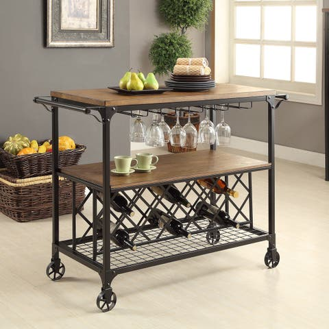 Furniture of America Daimon Oak-finish Wood Rolling Table with Wine Rack