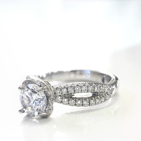 Lihara and Co. 18k White Gold 1/4ct TDW Diamond and Cubic Zirconia Ring