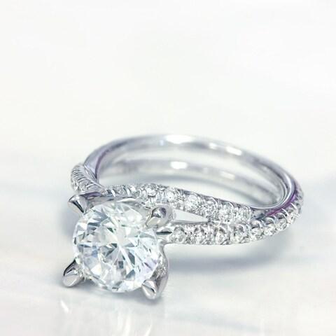 Lihara and Co. 18k White Gold 2/5ct TDW Semi-Mount Diamond Engagement Ring