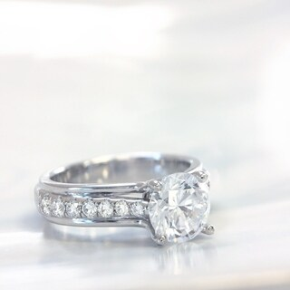 Lihara and Co. 18k White Gold 1/3ct TDW Semi-mount Diamond and CZ Center Ring
