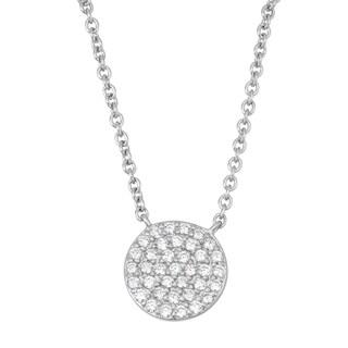 La Preciosa Sterling Silver Cubic Zirconia Flat Disc Necklace